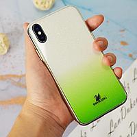 Чехол для смартфона пластиковый с блестками на IPHONE XS зеленый
