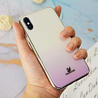Чехол для смартфона пластиковый с блестками на IPHONE XS сиреневый