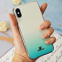 Чехол для смартфона пластиковый с блестками на IPHONE XS голубой