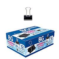 Зажимы длябумаг BG 15мм 60л 12шт в картонной упаковке - Черные