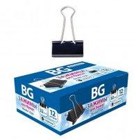 Зажимы для бумаг BG 32 мм 150 л 12 шт в картонной упаковке - Черные
