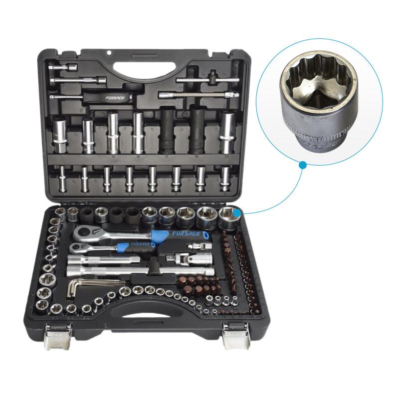 Набор инструментов 108+6пр. Premium 1/4''1/2(12гр.) 1/2''(17,19,21мм-6гр.) Forsage - фото 1