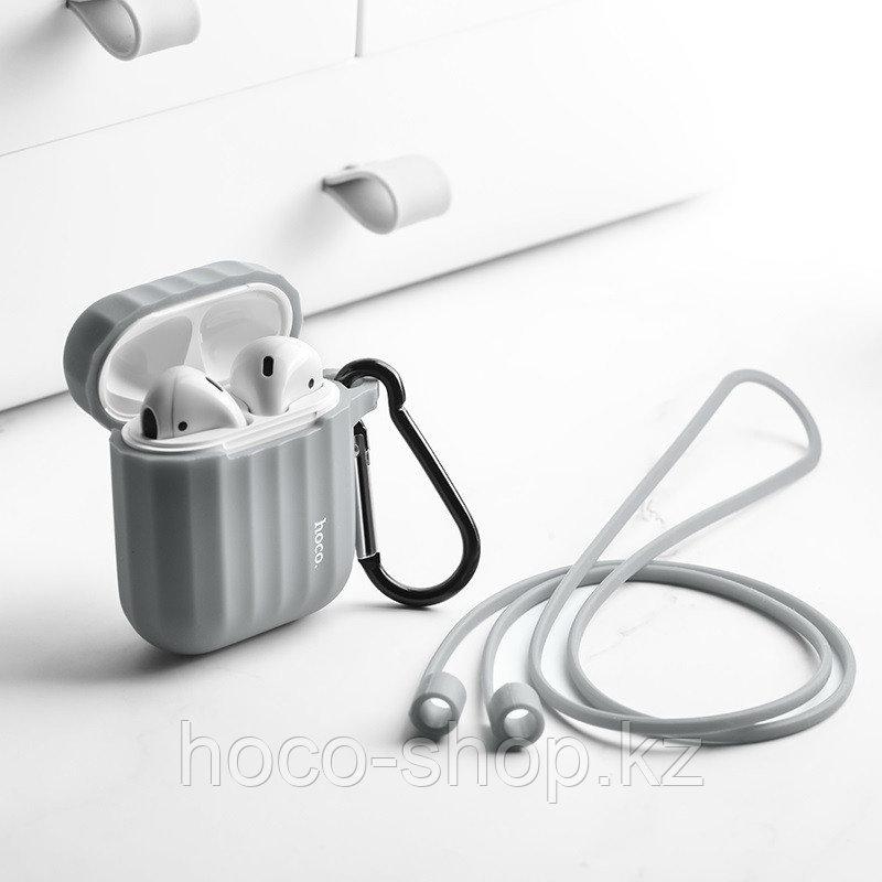 Защитный силиконовый чехол WB10 для Airpods 1 / 2 Grey - фото 3