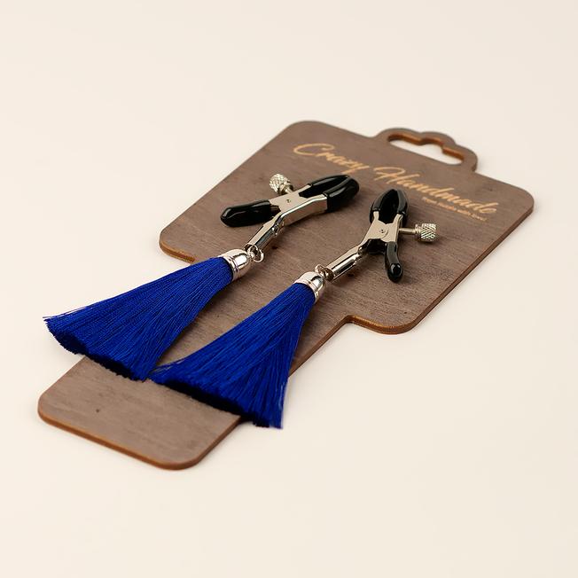 Зажимы на соски с кисточками из шелка, синие