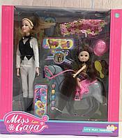 Игровой набор: кукла, ребенок, лошадка