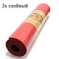 Коврик для йоги и фитнеса (йогамат) двухслойный 6 мм красно черный