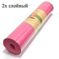 Коврик для йоги и фитнеса (йогамат) двухслойный 6 мм розовый с фуксией