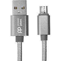 Кабель PowerPlant USB - microUSB, 1м, нейлон, металлический штекер, серый