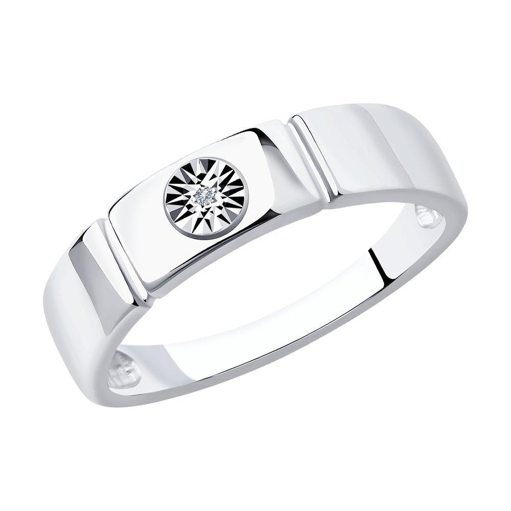 Кольцо из серебра с натуральным бриллиантом