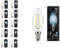 Лампа светодиодная филаментная Gauss Black Filament 9Вт свеча 4100К E14 103801209