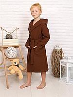 Детский вафельный халат для мальчика с капюшоном