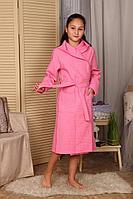 Детский вафельный халат для девочки с капюшоном