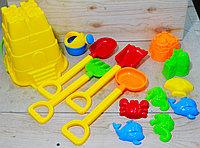 66131 Большой песочный набор желтый (грабли лопата,формы) 33*18см