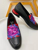 Туфли черные с рисунком цветка розы, натуральная кожа