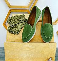 Туфли оливкового цвета с кожаным кантом, натуральная замша