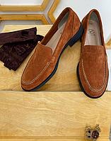 Туфли лоферы кирпичного цвета, натуральная замша