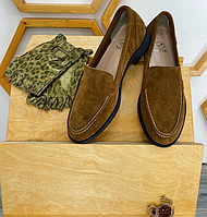 Туфли лоферы коричневого цвета, натуральная замша