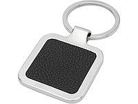 Квадратный брелок Piero с лазерным принтом, изготовленный из искусственной кожи, черный