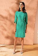 Женское летнее шифоновое зеленое нарядное большого размера платье Nelva 5920 изумрудный 42р.