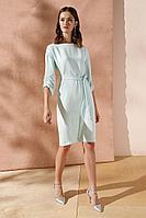 Женское летнее шифоновое бирюзовое нарядное большого размера платье Nelva 5920 мятный 42р.