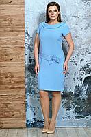 Женское летнее голубое нарядное большого размера платье Белтрикотаж 6254 голубой 46р.
