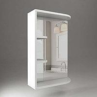Шкаф навесной, 1 дверь + зеркало + 2 полки (сбоку), 550, (Ясень жемчужный)
