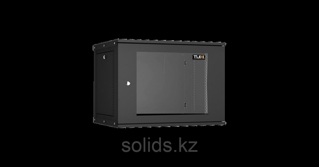 Настенный разборный шкаф  9U стекло 600х450 BK