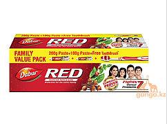 Аюрведическая зубная паста Ред (Red DABUR), 200г+100гр+зуб.щетка