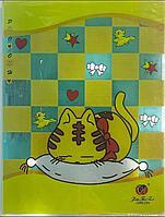 Папка пластиковая с зажимом котенок А4 желтая в клетку