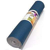 Коврик для йоги и фитнеса (йогамат) 5 мм двухсторонний синий