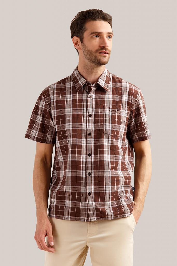 Рубашка мужская Finn Flare, цвет темно-коричневый, размер S - фото 1