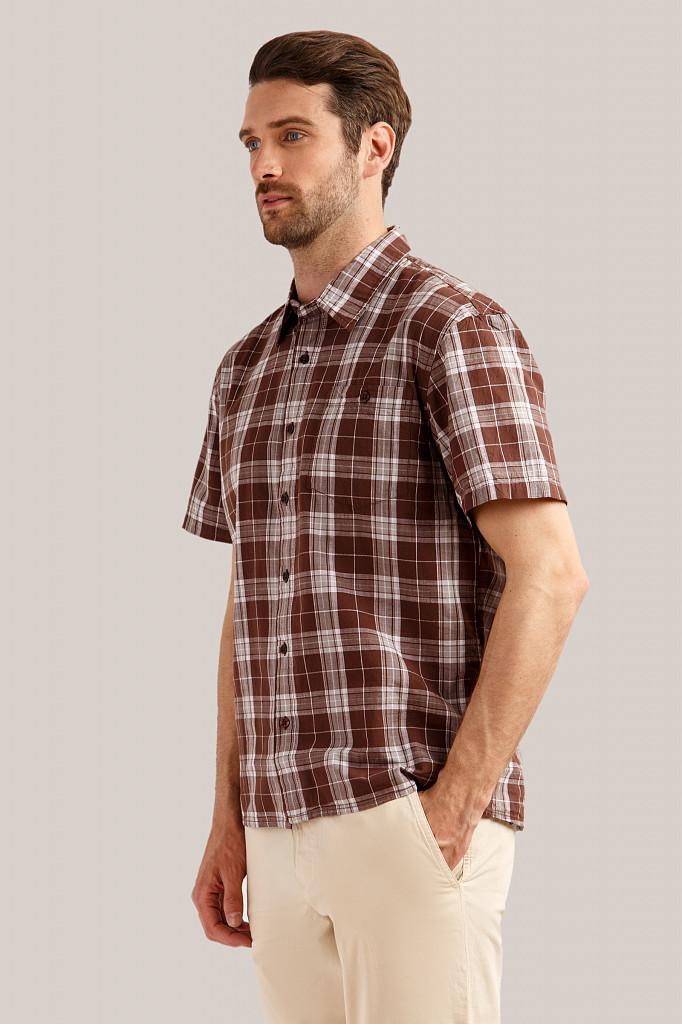 Рубашка мужская Finn Flare, цвет темно-коричневый, размер S - фото 3
