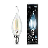 Лампа светодиодная филаментная Gauss Black Filament 7Вт свеча на ветру 4100К E14 104801207