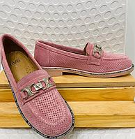 """Туфли """"Тортилла"""" розовые с перфорацией, натуральная замша"""