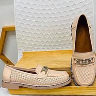 """Туфли """"Тортилла"""" пудровые с перфорацией, натуральная кожа"""