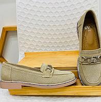 """Туфли """"Тортилла"""" светло-серые с перфорацией, натуральная замша"""