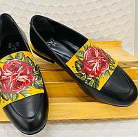 Туфли черные с желтым рисунком цветка розы, натуральная кожа