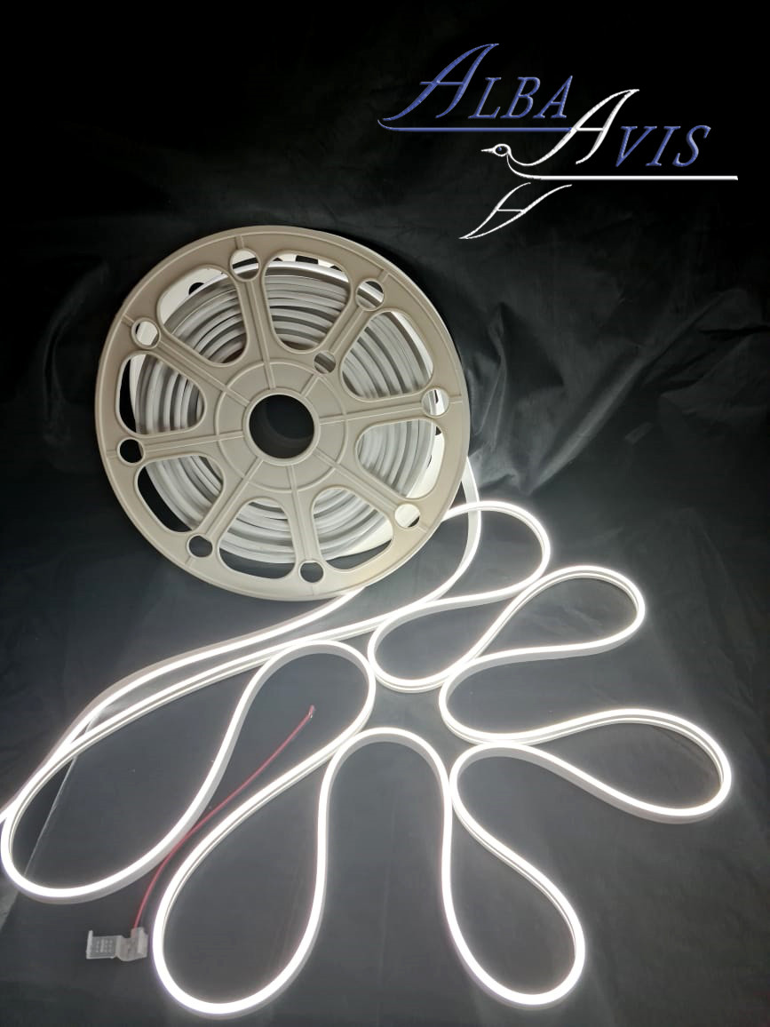 Гибкий неон 12 х 6 мм. 12 v, Бухта - 50 метров. Цвет шнура как и цвет свечения. Flex neon для рекламы. Белый