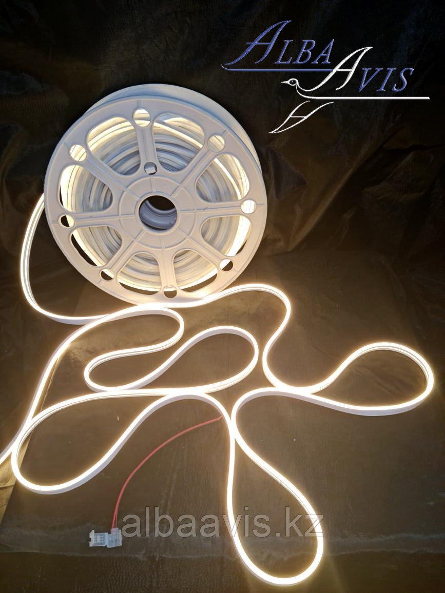 Гибкий неон 12*6 мм. 12 v.  Бухта - 50 метров. Цвет шнура как и цвет свечения. Flex neon для рекламы. Белый