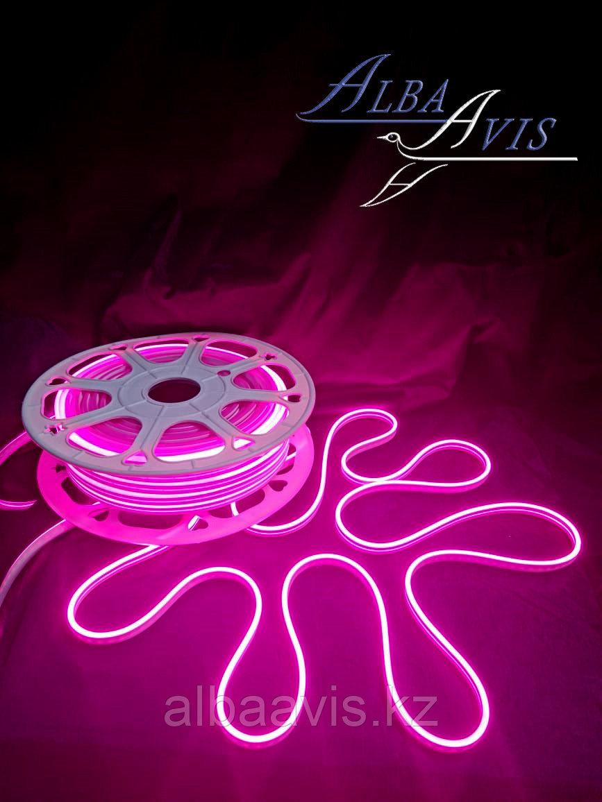 Гибкий неон 12*6 мм. 12 v. розовый  Бухта - 50 метров. Цвет шнура как и цвет свечения. Flex neon для рекламы.
