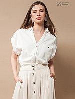 """Over-size блузка-поло из трикотажа """"пике""""."""