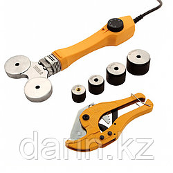 Аппарат для сварки пластиковых труб DWP-750, 750 Вт, 0-300 град, 4 насадки, 20-40 мм Denzel