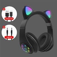 Наушники беспроводные со светящимися ушками Cat Ear M2 (Черный)