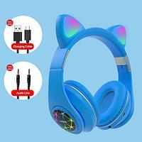 Наушники беспроводные со светящимися ушками Cat Ear M2 (Голубой)