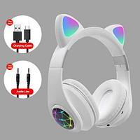 Наушники беспроводные со светящимися ушками Cat Ear M2 (Белый)