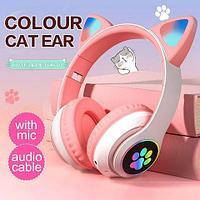 Наушники беспроводные со светящимися ушками Cat Ear M2 (Нежно-розовый)
