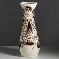 """Ваза напольная """"Осень"""" коричневая, резная, 58 см, керамика"""