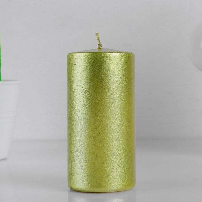 Свеча-цилиндр, 5х10 см, 21 ч, золото