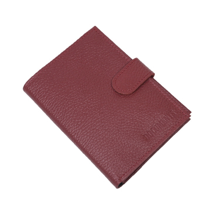 Обложка для паспорта и автодокументов, с карточками и купюрником, с кнопкой, натуральная кожа, цвет красный
