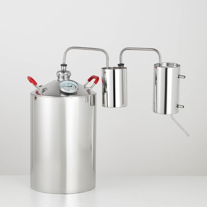 Дистиллятор «Разборный», 12 л, горло 40 мм, с термометром, ручки МИКС дерево/металл